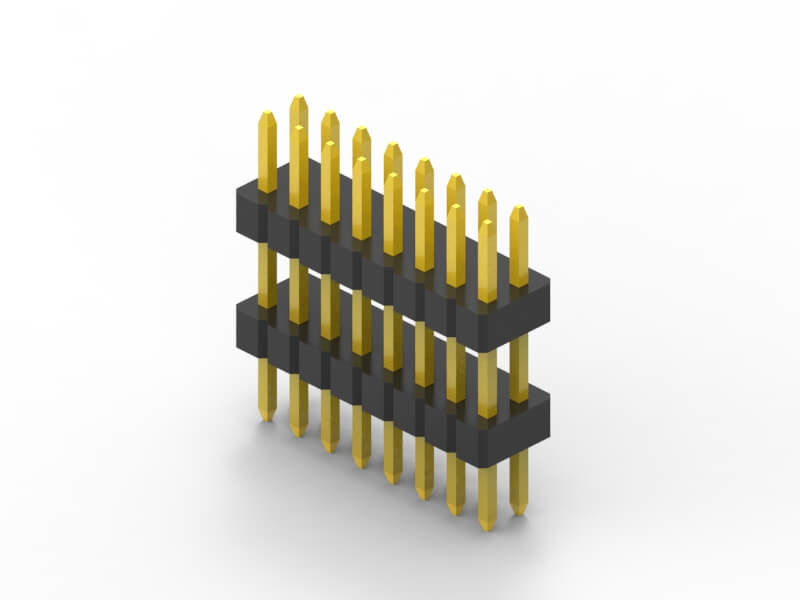 1.00mm pin header Single row R/A double plastic applied in navigation
