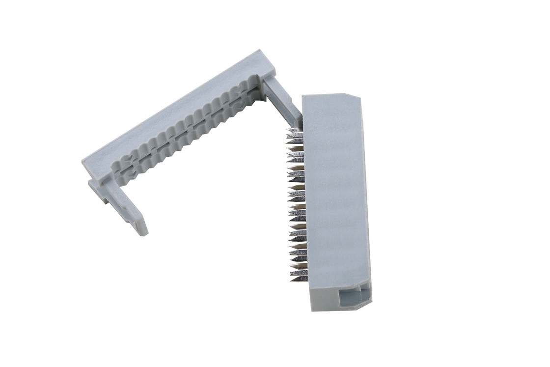 2.54 Mm Pitch IDC Cable Connector PBT Material 500V Insulation Resistance