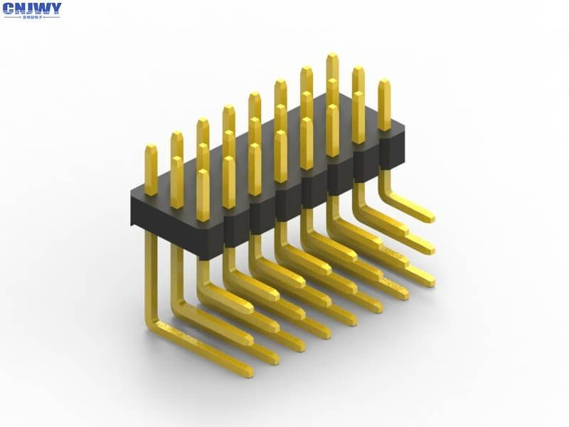 DIP Type Right Angle Pin Header , Three Rows Male Pin Header Connector