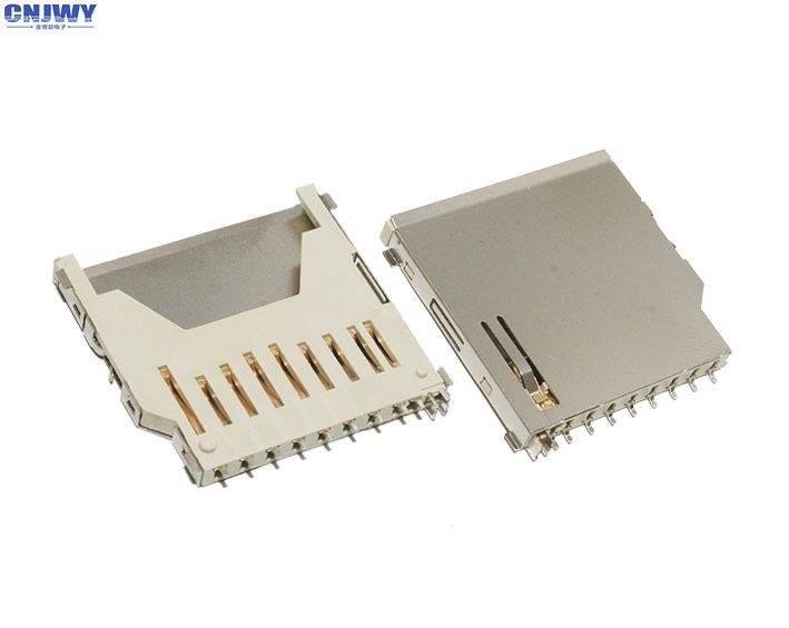Gold Plated Micro Sd Card Holder , Full Copper Long Sd Memory Card Connector